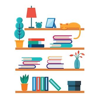 Platte boekenplanken boek in de kamerbibliotheek