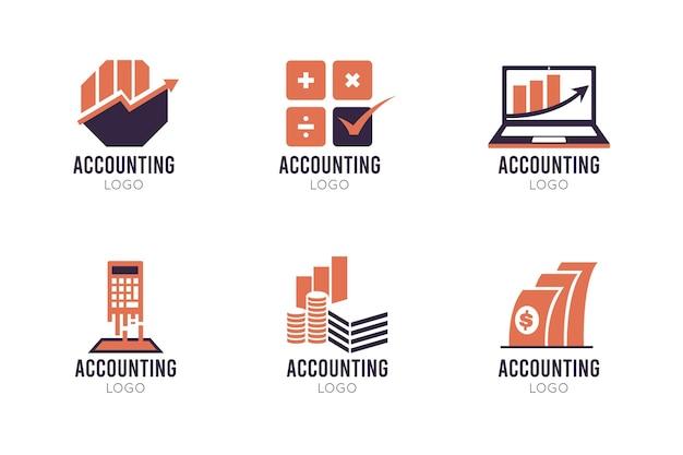 Platte boekhoudkundige logo-collectie