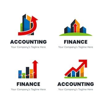 Platte boekhoudkundige logo sjabloonverzameling