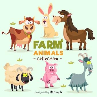 Platte boerderij dieren collectie