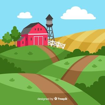 Platte boerderij landschap-achtergrond