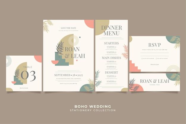 Platte boho bruiloft briefpapier collectie