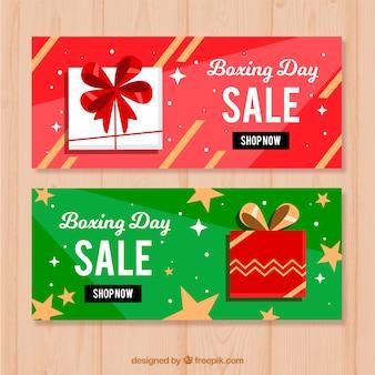 Platte boksen dag verkoop banners met sterren