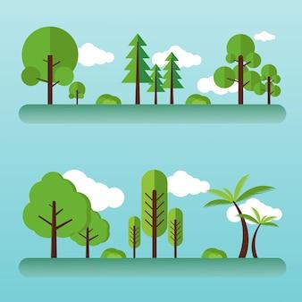 Platte bomen illustratie