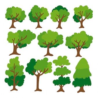 Platte boom icoon. diverse vormbomen in het bos. geïsoleerd op een witte achtergrond.