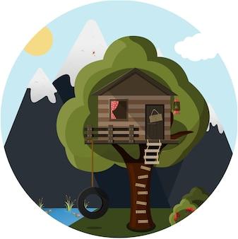 Platte boomhut in het bos tegen de achtergrond van bergen en meer cute vector house