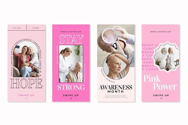 Platte borstkanker bewustzijn maand instagram verhalencollectie met foto
