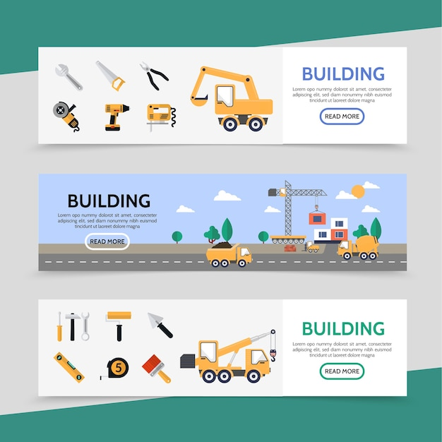 Platte bouwsector horizontale banners