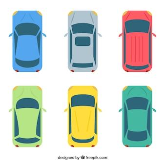 Platte bovenaanzicht auto collectie