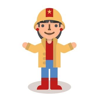 Platte brandweerman vrouw