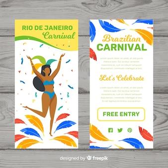 Platte braziliaanse carnaval flyer sjabloon