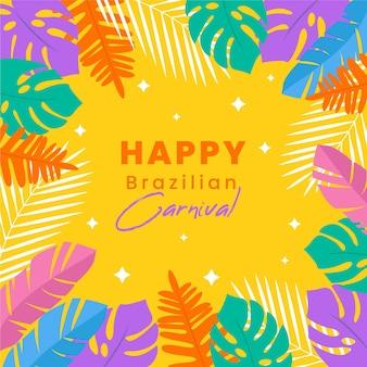 Platte braziliaanse carnaval kleurrijke planten