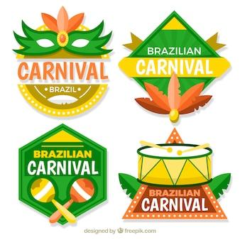 Platte braziliaanse carnaval label / badge collectie