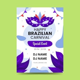 Platte braziliaanse carnaval poster sjabloon