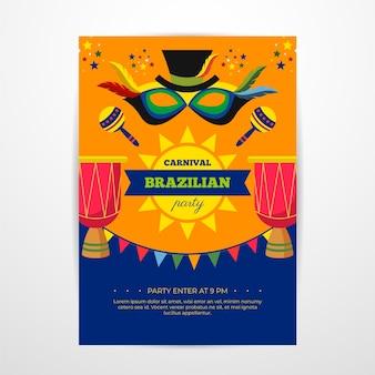 Platte braziliaanse carnaval sjabloon folder