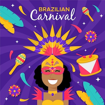 Platte braziliaanse carnavaldanser