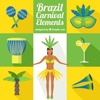 Platte brazilië carnaval elementen pakken