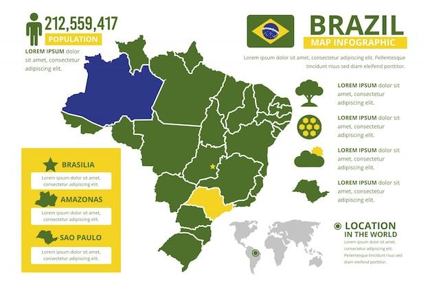 Platte brazilië kaart infographic sjabloon