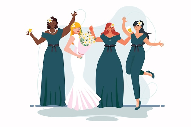 Platte bruidsmeisjes en bruidgroep