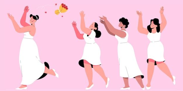 Platte bruidsmeisjesgroep die het boeket wil vangen