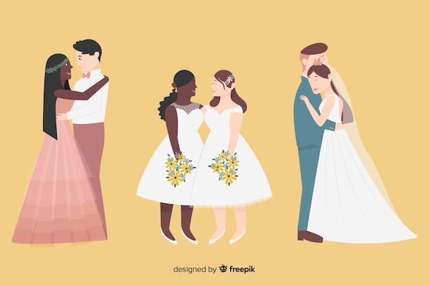 Platte bruidspaar collectie