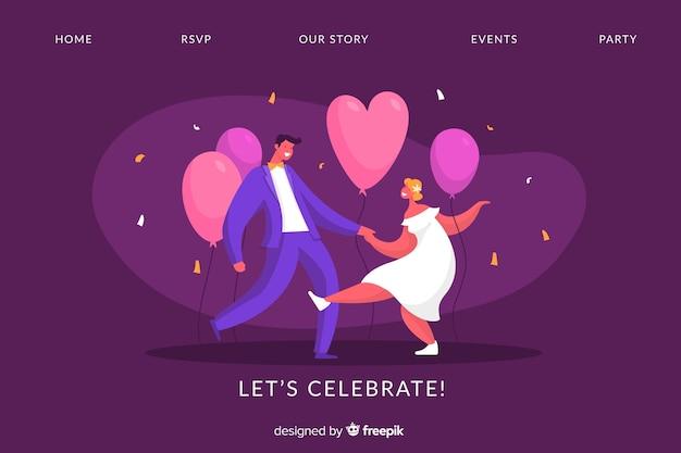 Platte bruiloft bestemmingspagina sjabloon