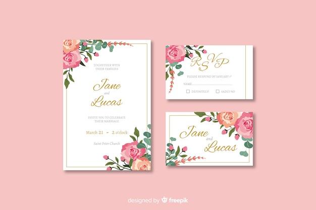 Platte bruiloft briefpapier sjabloon collectie