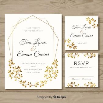 Platte bruiloft briefpapier sjabloon op witte achtergrond