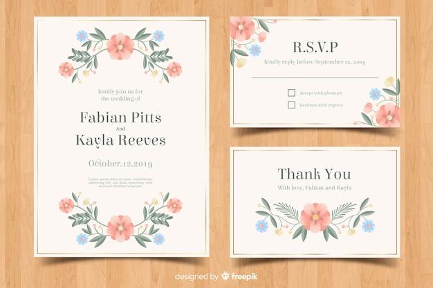 Platte bruiloft briefpapier sjabloon set