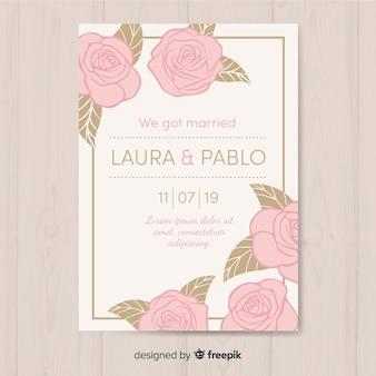 Platte bruiloft kaartsjabloon