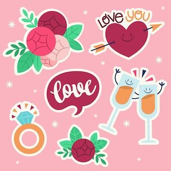 Platte bruiloft sticker collectie