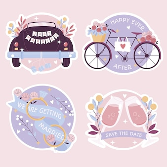 Platte bruiloft stickers collectie