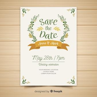 Platte bruiloft uitnodiging sjabloon