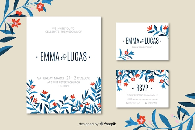 Platte bruiloft uitnodigingskaartsjabloon