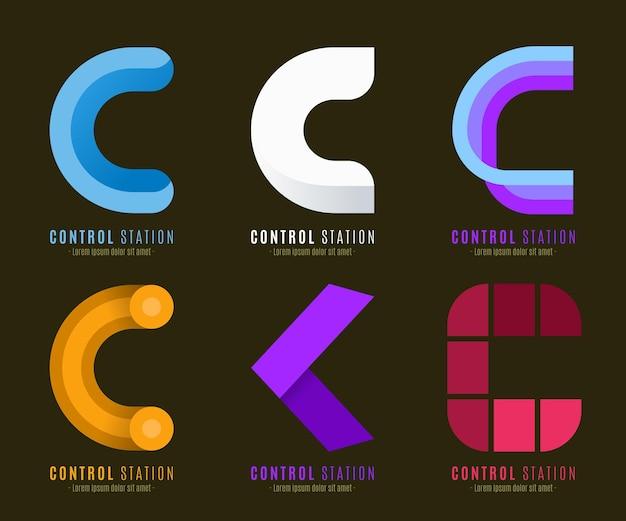 Platte c logo sjabloonverzameling