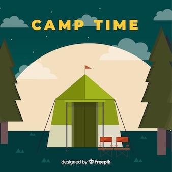 Platte camp tent achtergrond
