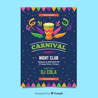 Platte carnaval partij flyer sjabloon