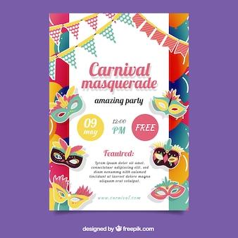 Platte carnavalsfeest flyer / poster