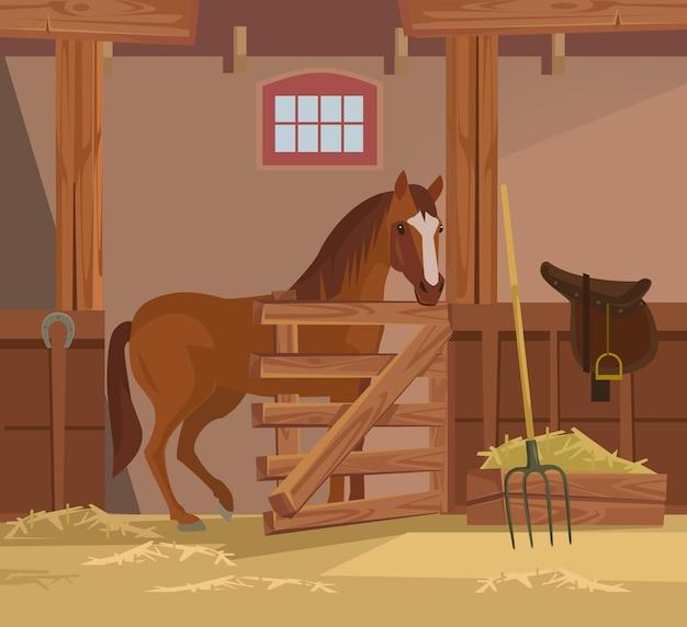 Platte cartoon afbeelding van een paardenboerderij
