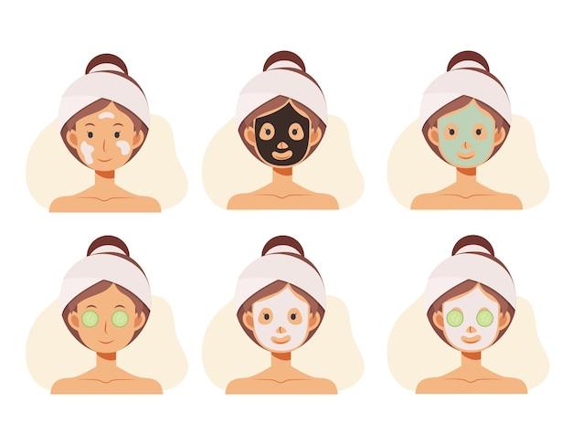 Platte cartoon afbeelding van vrouw gezichten met gezicht huidverzorging. kleimaskers, alginaatmaskers.
