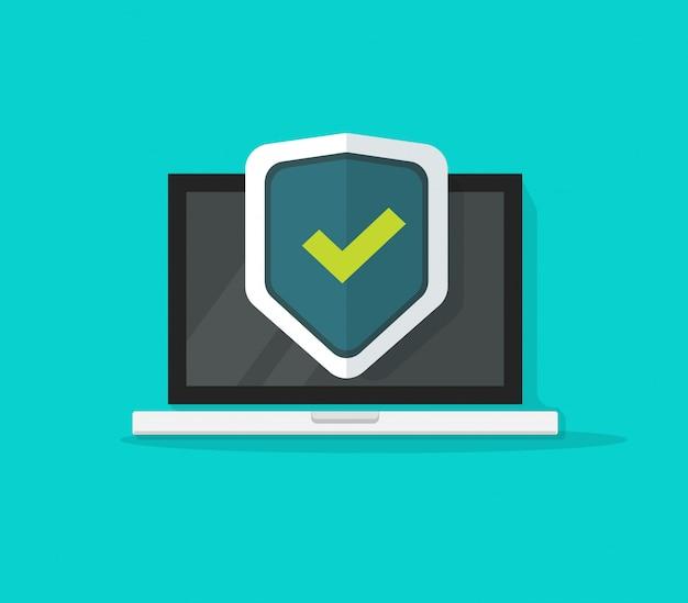 Platte cartoon computer laptop beschermd via veiligheid schild vector symbool