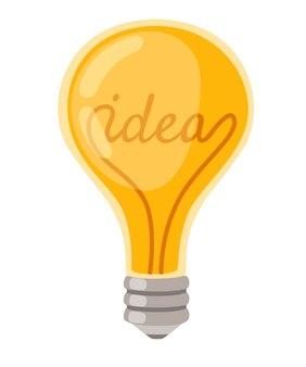 Platte cartoon gloeilamp gele retro gloeilamp met idee concept vectorillustratie