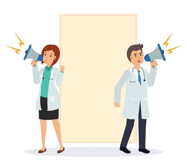 Platte cartoon illustratie van twee artsen die een aankondiging doen met een luidspreker. achter is een leeg bord.
