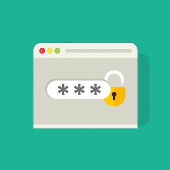 Platte cartoon inloggen of teken pictogram met wachtwoord veld