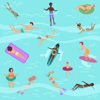 Platte cartoon mensen in zee of oceaan zwemmen, duiken, zonnebaden op drijvende luchtmatrassen.