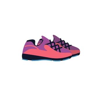 Platte cartoon modieuze sneakers, mode winkelen vector illustratie concept