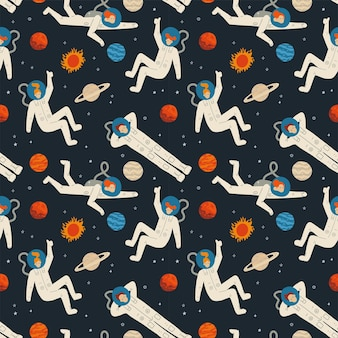 Platte cartoon naadloze patroon met kosmos elementen galaxy astronaut sterren maan en planeten