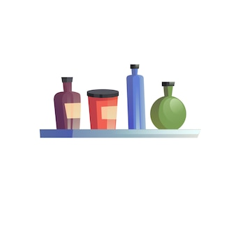 Platte cartoon plank met verschillende flessen, home interieur elementen vector illustratie concept