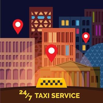 Platte cartoon-stijl stad met geel taxiteken en locatiemarkeringen