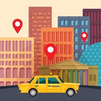 Platte cartoon-stijl stad met gele taxi-auto en locatiemarkeringen